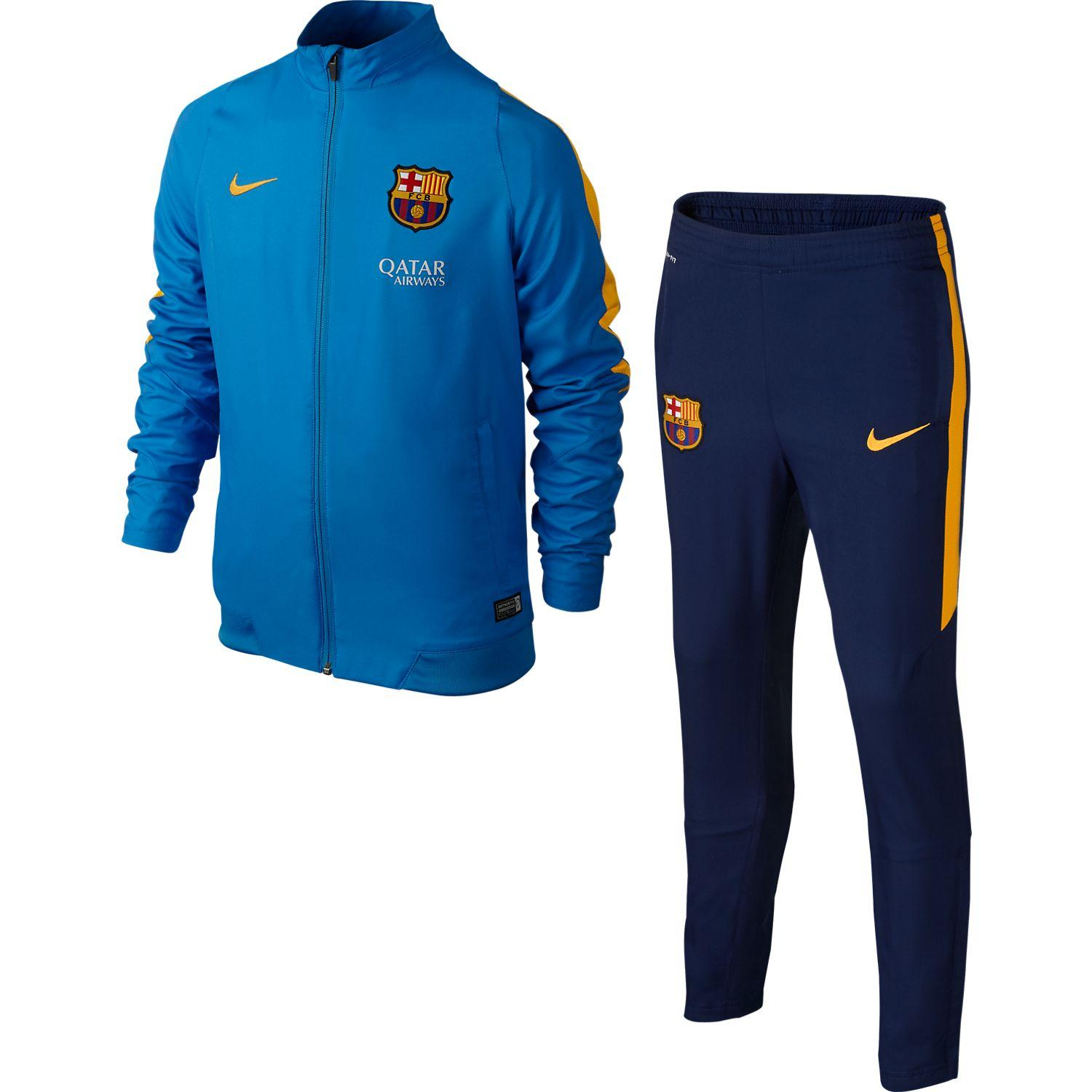 Barcelona Träningsoverall Revolution Sideline Woven Warm Up Blå/Gul Barn