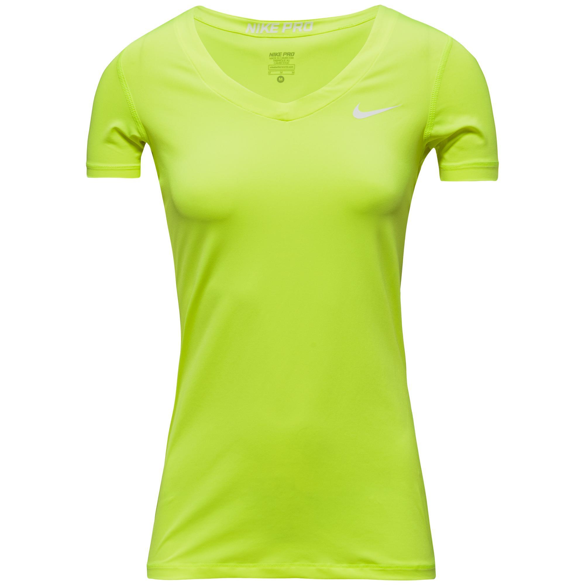 Nike Pro T-Shirt V-Neck Neon Dam