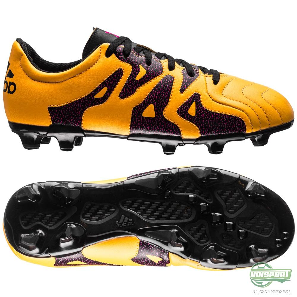 adidas X 15.3 Läder FG AG Gul Rosa Svart Barn 022307c1ca9e9