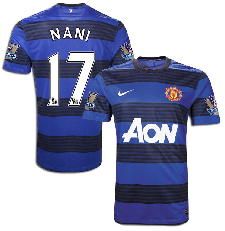 Manchester United - Udebanetrøje 11/12 Børn NANI 17 + Premier League Champions Ærmemærker