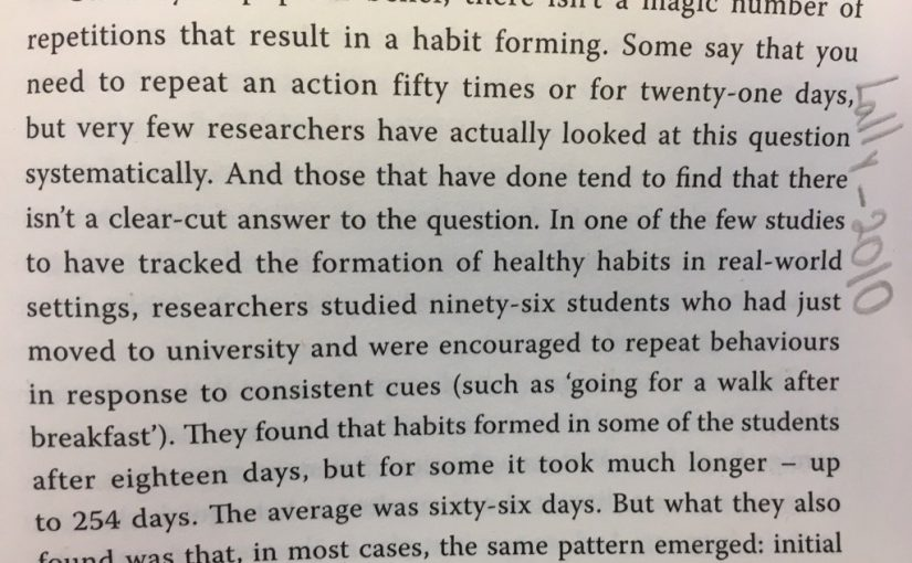 💎 On there being no magic number of times an activity needs to be done to fix a bad habit (just keep doing it)