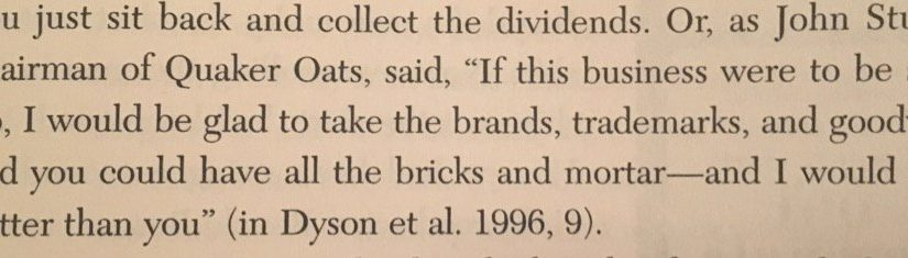 💎 On power of brand versus physical assets (you take the factory, give me the trademark)