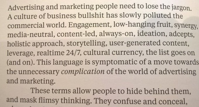 💎 On how advertising jargon is used to hide flimsy thinking (synergy, media-neutral, content-led…)
