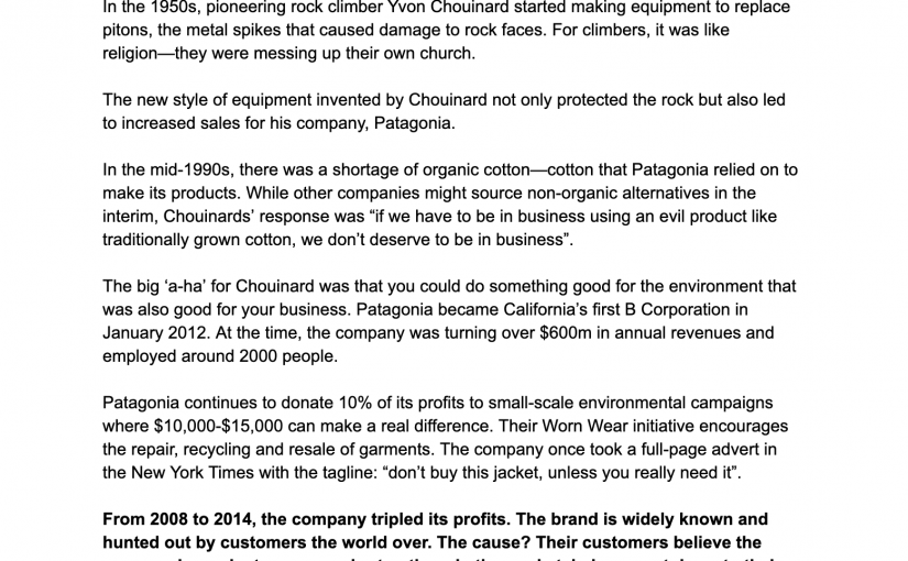 💎 On the power of doing good to boost sales (organic cotton and Patagonia)