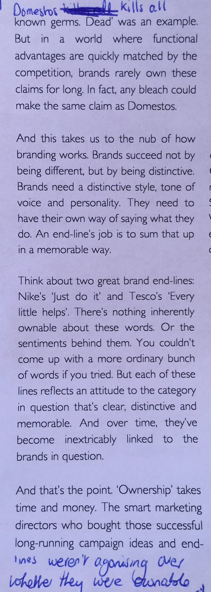On the need for brands to be distinctive not different