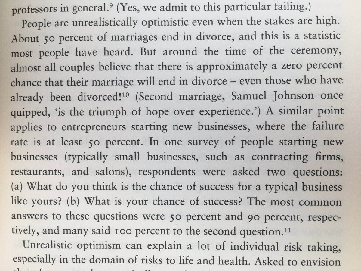 💎 On our tendency to be unrealistically optimistic (see divorce rates)
