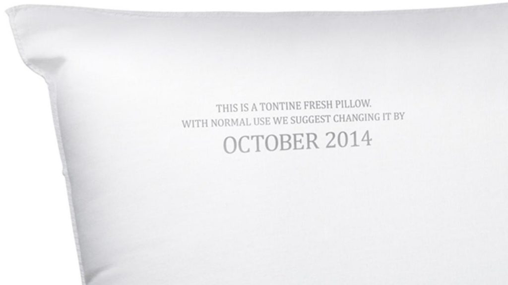 Smart idea from Tontine - printing an expiry date on their pillows to remind people to replace them