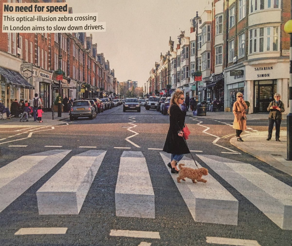 Smart 3D nudge on a London zebra crossing that aims to slow drivers down