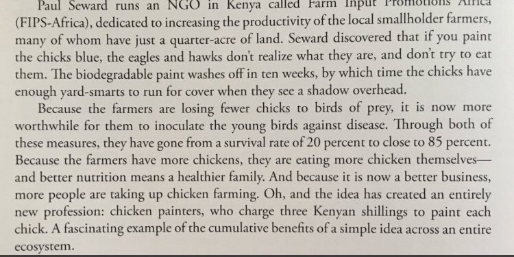 💎 On the cumulative benefits of a simple idea across an entire ecosystem (saving chickens to inventing a new economy)