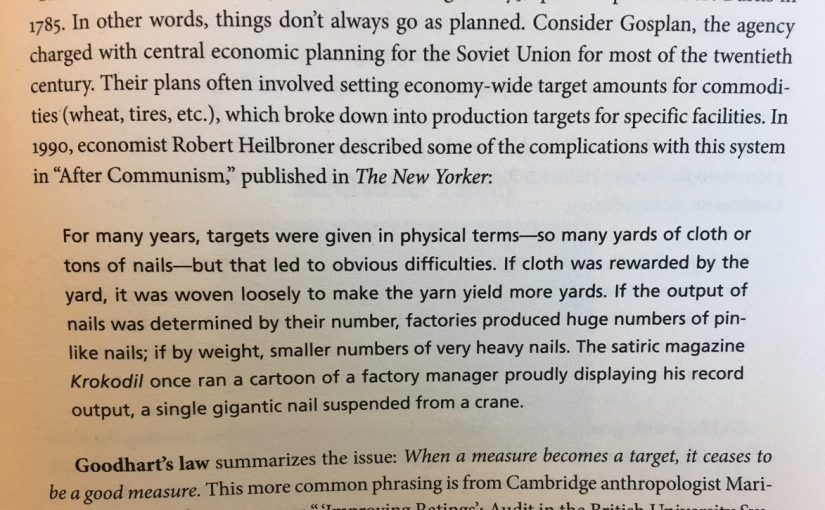 Goodhart's law and the unintended consequences of targets