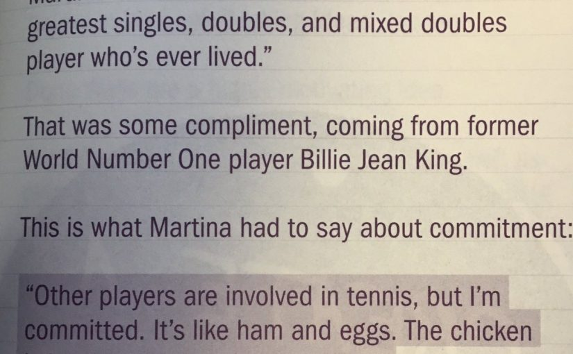 💎 On attributing success to being committed rather than involved (in professional tennis)