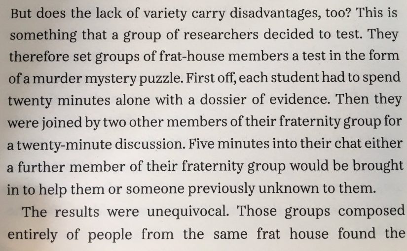 💎 On problem solving among homogeneous groups being more enjoyable but less effective (lazy groupthink)