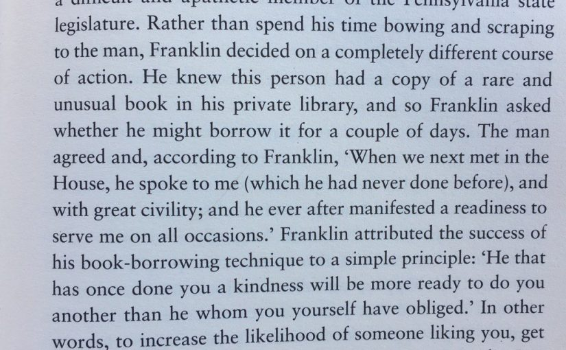 💎 On thoughts and feelings following behaviour rather than the other way round (Benjamin Franklin effect)