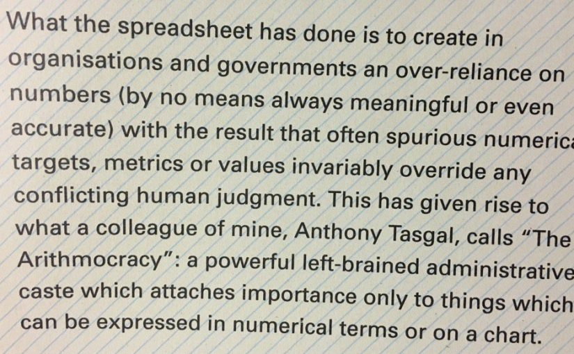 "💎 On the pernicious effect of ""the Arithmocracy"" (more specifically, the spreadsheet)"