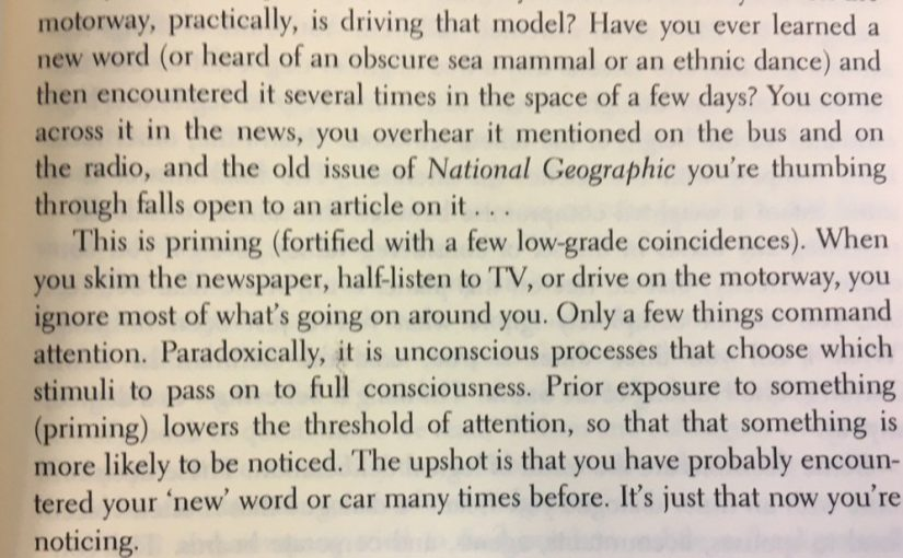 💎 On how priming lowers our threshold of attention (Baader-Meinhof phenomenon)