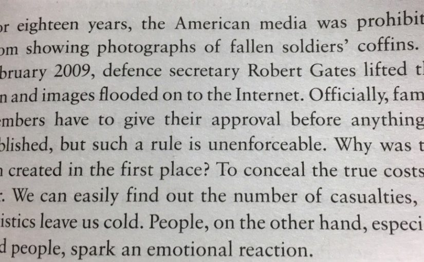 💎 On how statistics lack emotional impact when compared to images (numbers versus coffins)