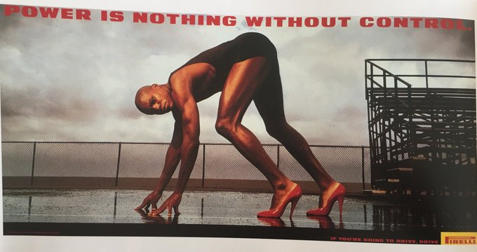 ♦️ Pirelli poster featuring Carl Lewis: power is nothing without control