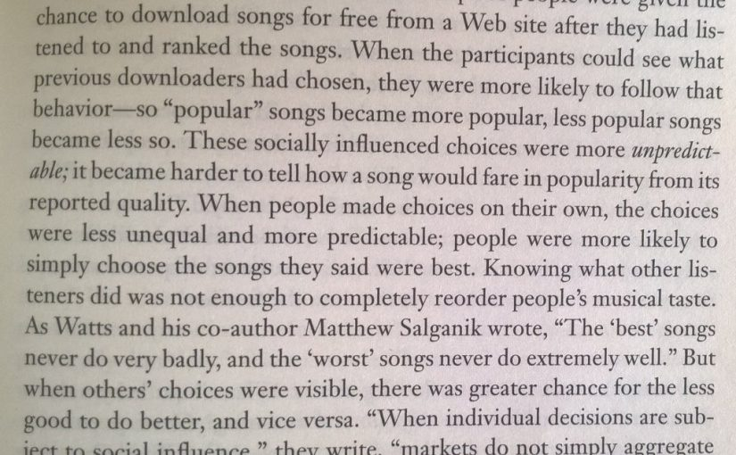 💎 On social proofs influence on music choice (markets do not simply aggregate pre-existing individual preference)