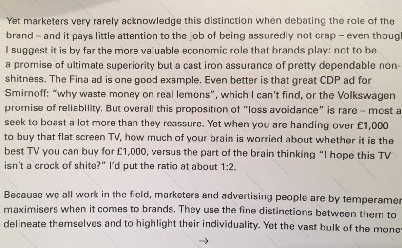 💎 On the avoidance of regret being a much bigger factor in brand selection than the pursuit of perfection (I hope this TV isn't a crock of shite)