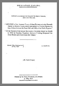 photo of Parliamentary Papers, Emigration (Canada)