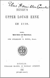 photo of Henry's Upper Lough Erne in 1739