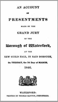 photo of Waterford City Grand Jury Presentments, Spring 1846 DOWNLOAD