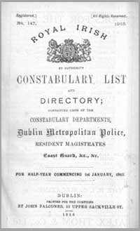 photo of Royal Irish Constabulary List and Directory, January 1915