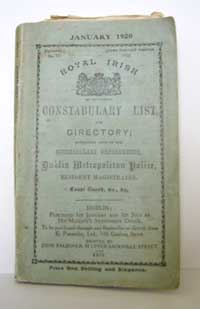 photo of Royal Irish Constabulary List and Directory, January 1920
