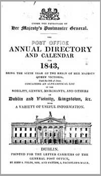 photo of The Post Office Annual Directory and Calendar for 1843, Dublin.