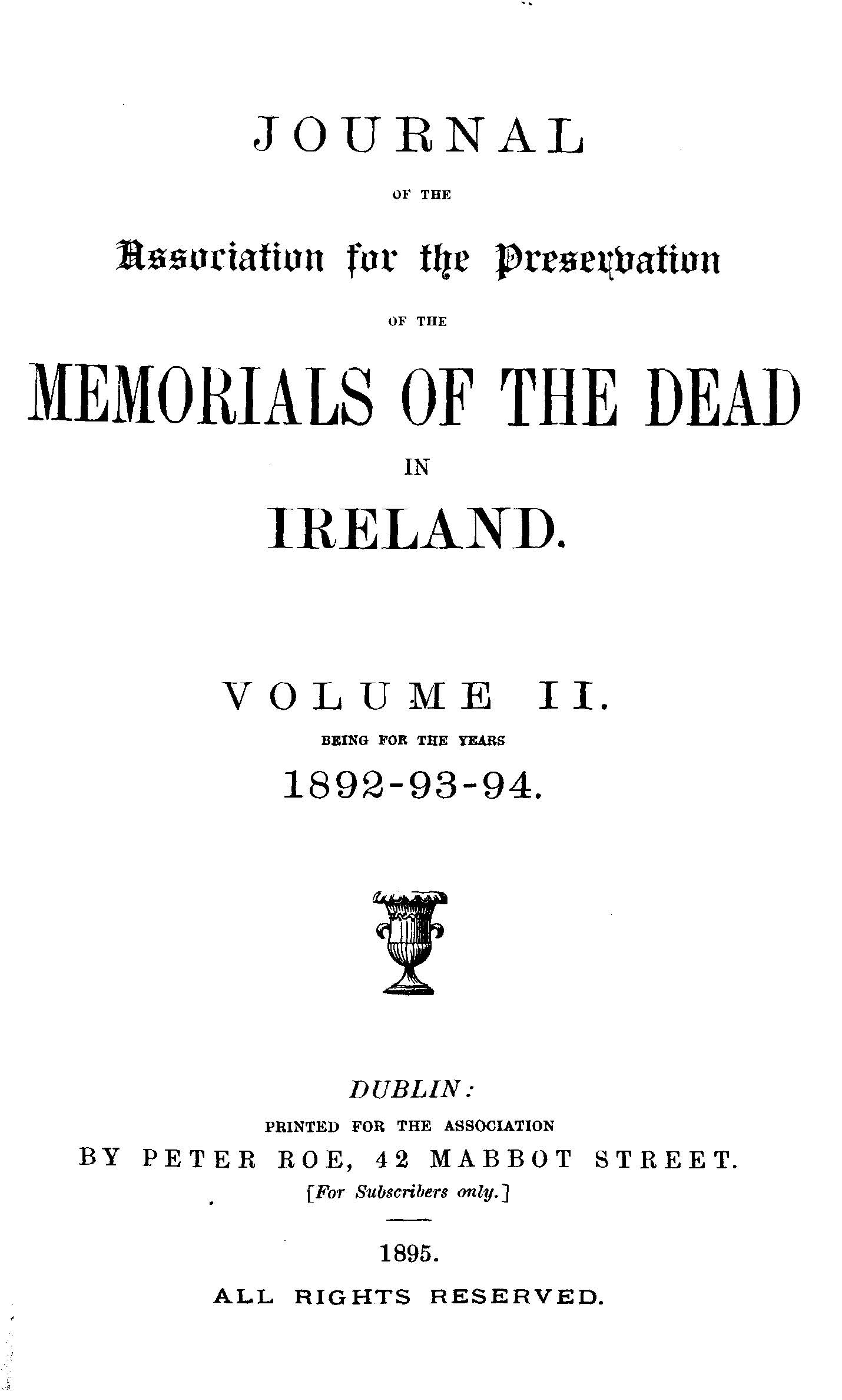 photo of Journal of the Association for the Preservation of the Memorials of the Dead. Volume II, for the years 1892-1894. 1895