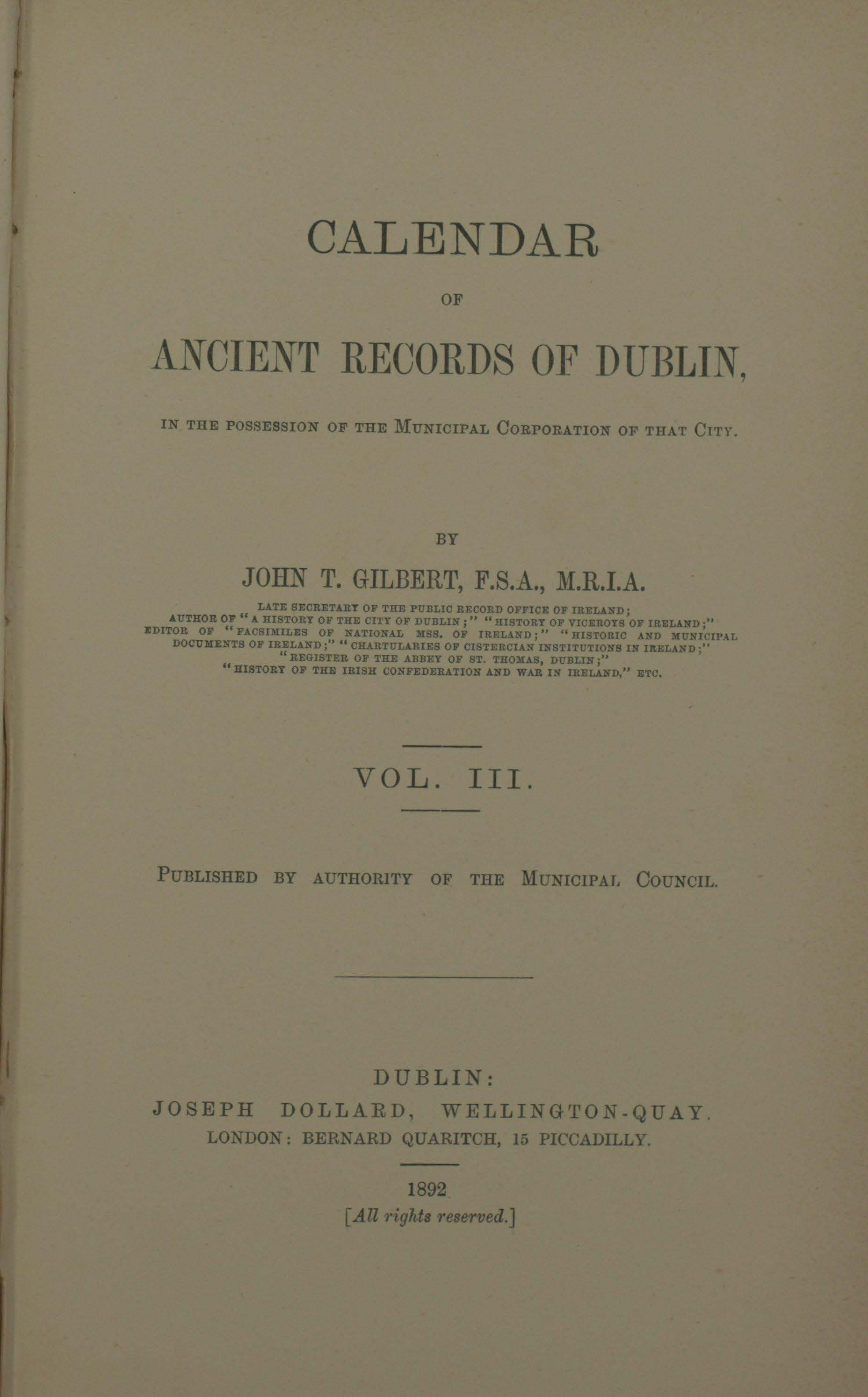 photo of  Calendar of Ancient Records of Dublin Vol III, 1892