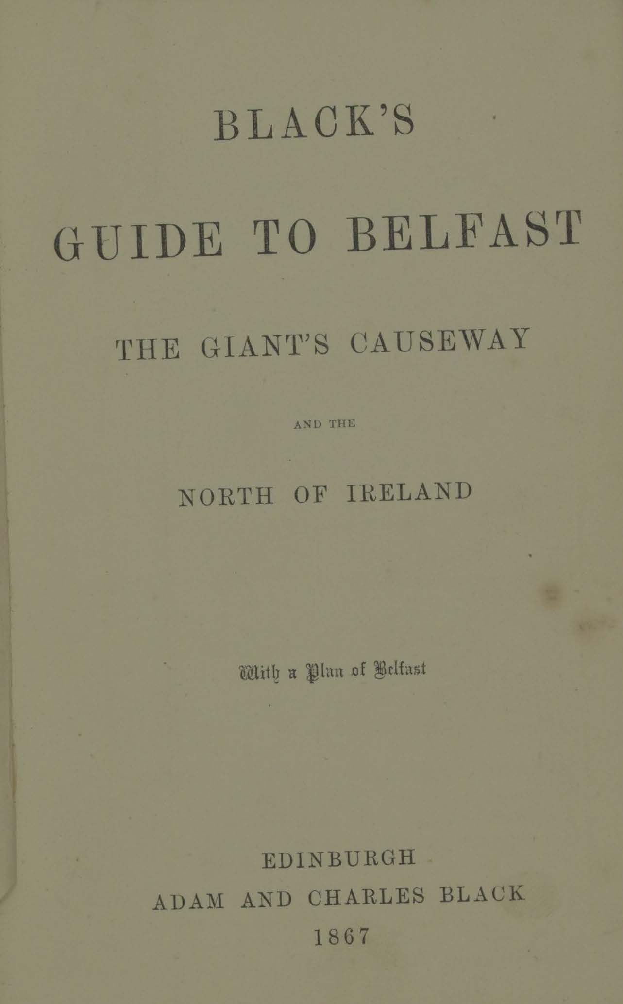 photo of Black's Guide to Belfast, the Giant's Causeway and the North of Ireland. 1867