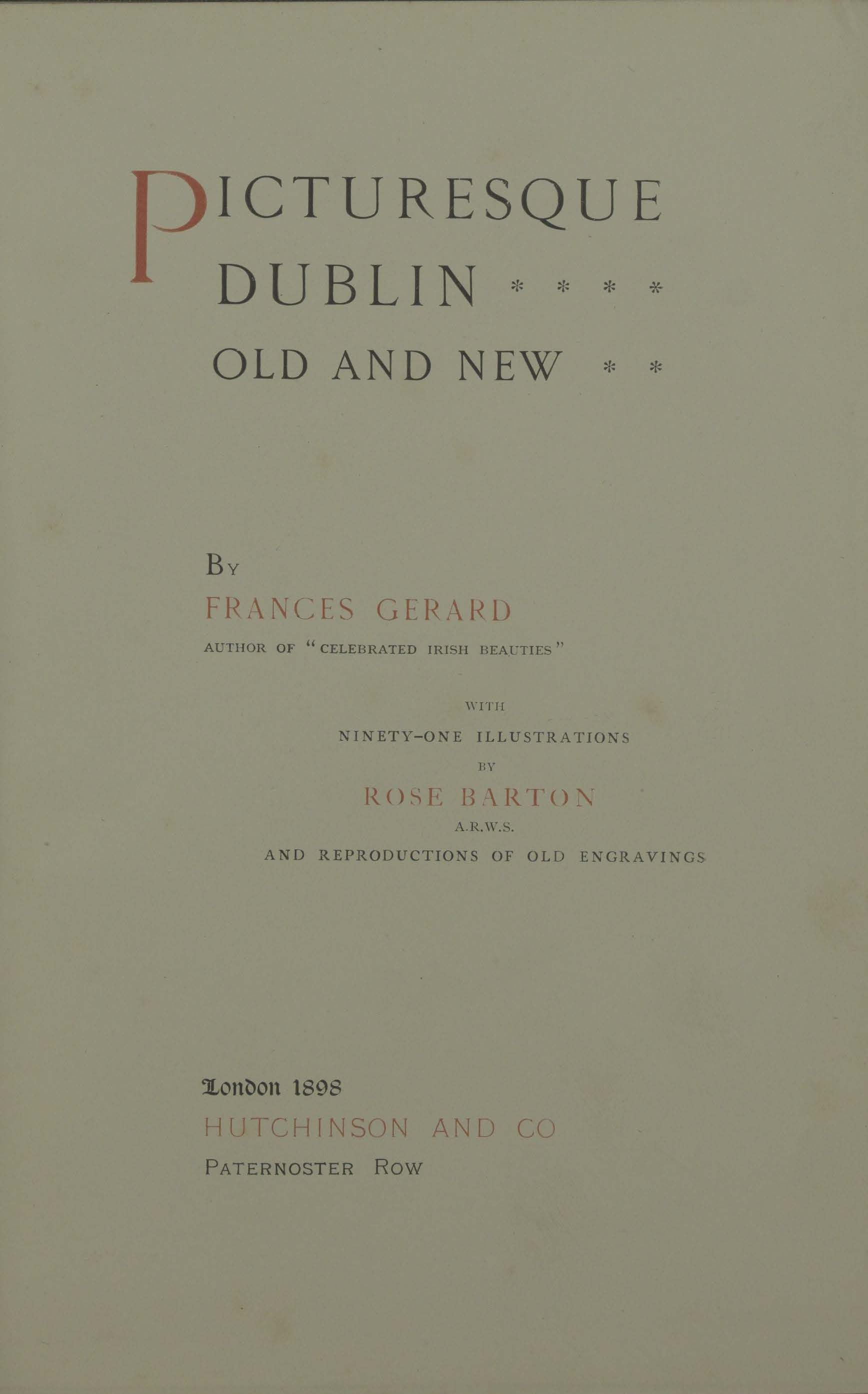 photo of  Picturesque Dublin Old and New. 1898