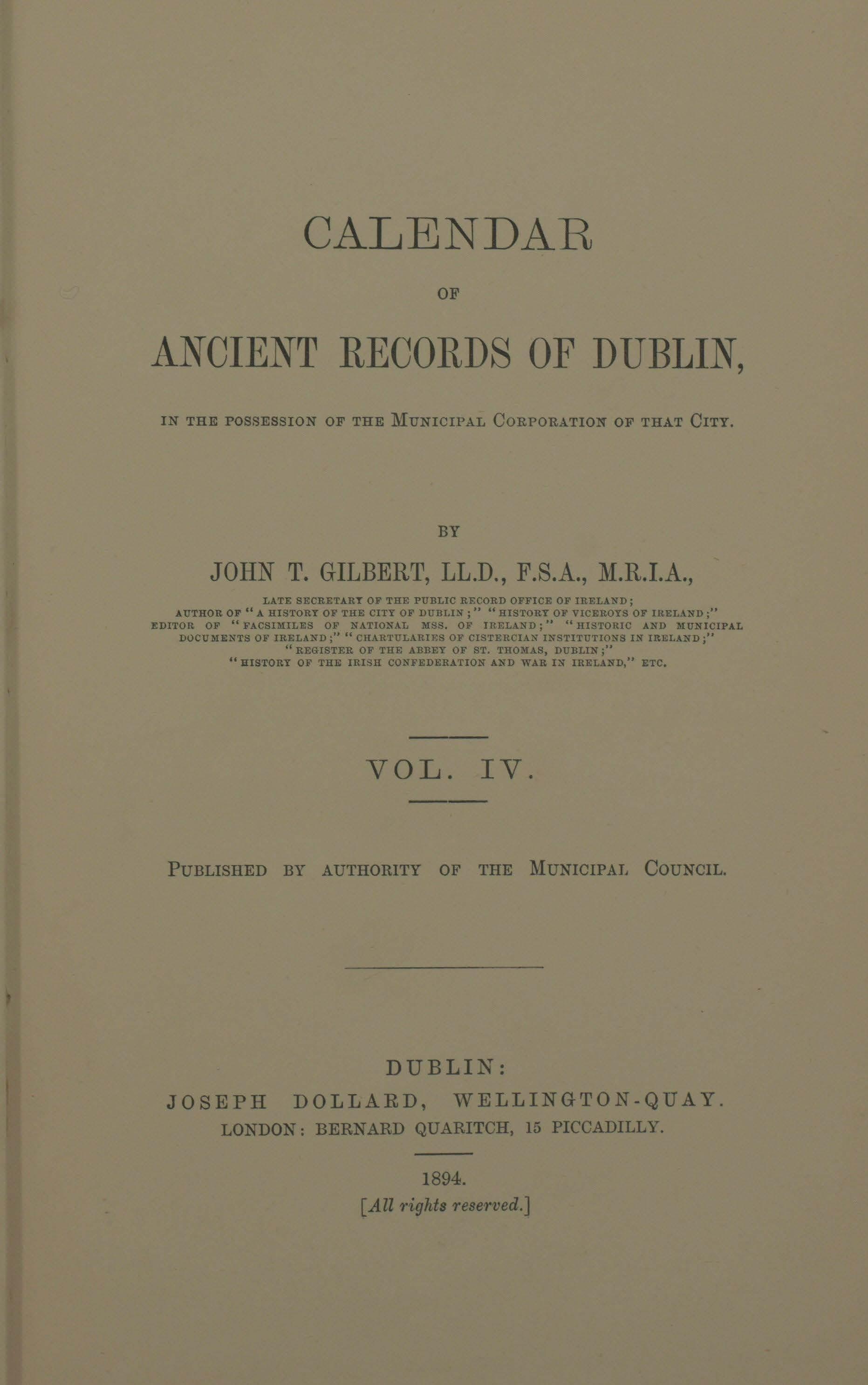 photo of Calendar of Ancient Records of Dublin Vol IV. 1894