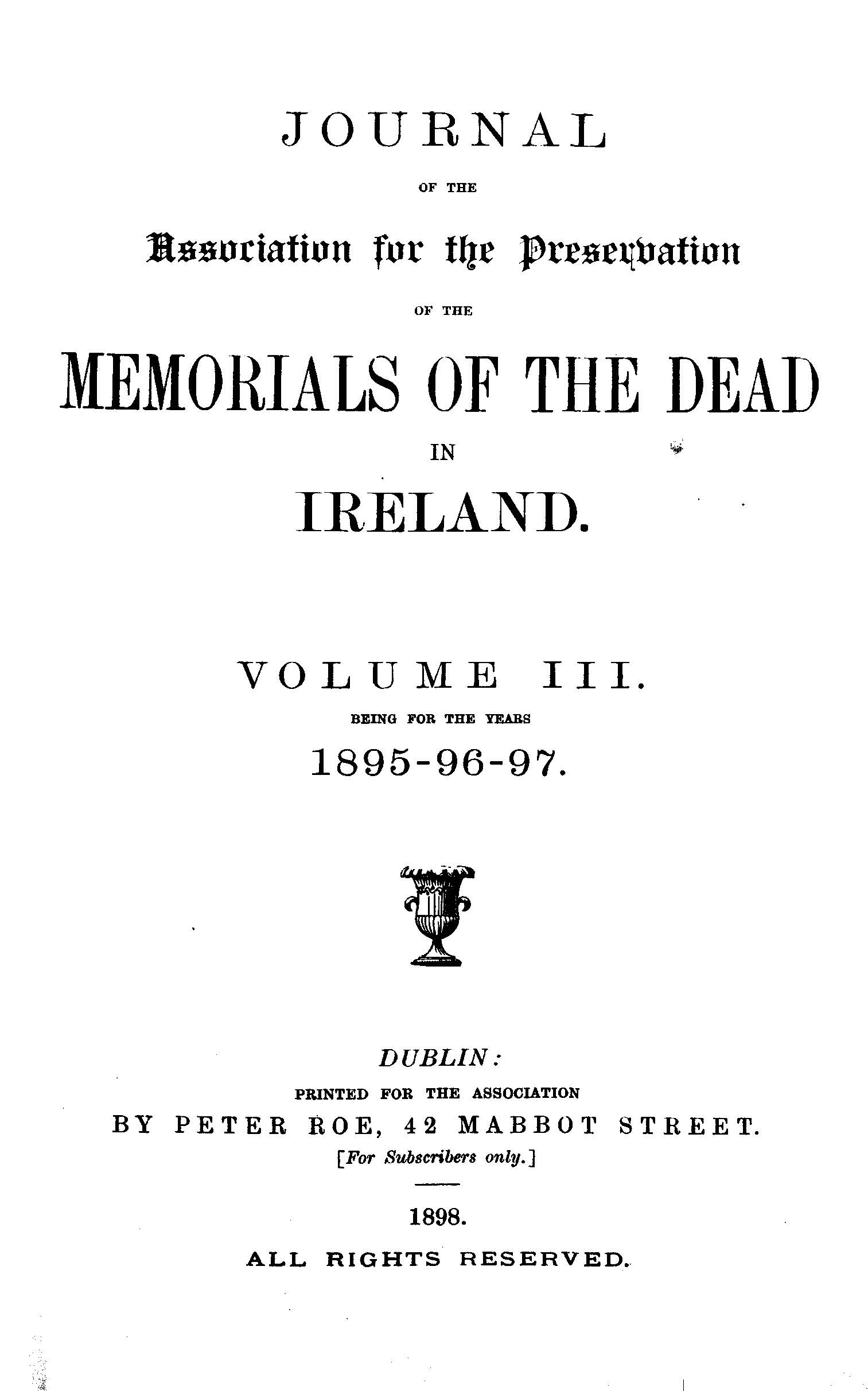 photo of Journal of the Association for the Preservation of the Memorials of the Dead. Volume III, for the years 1895-1897. 1898