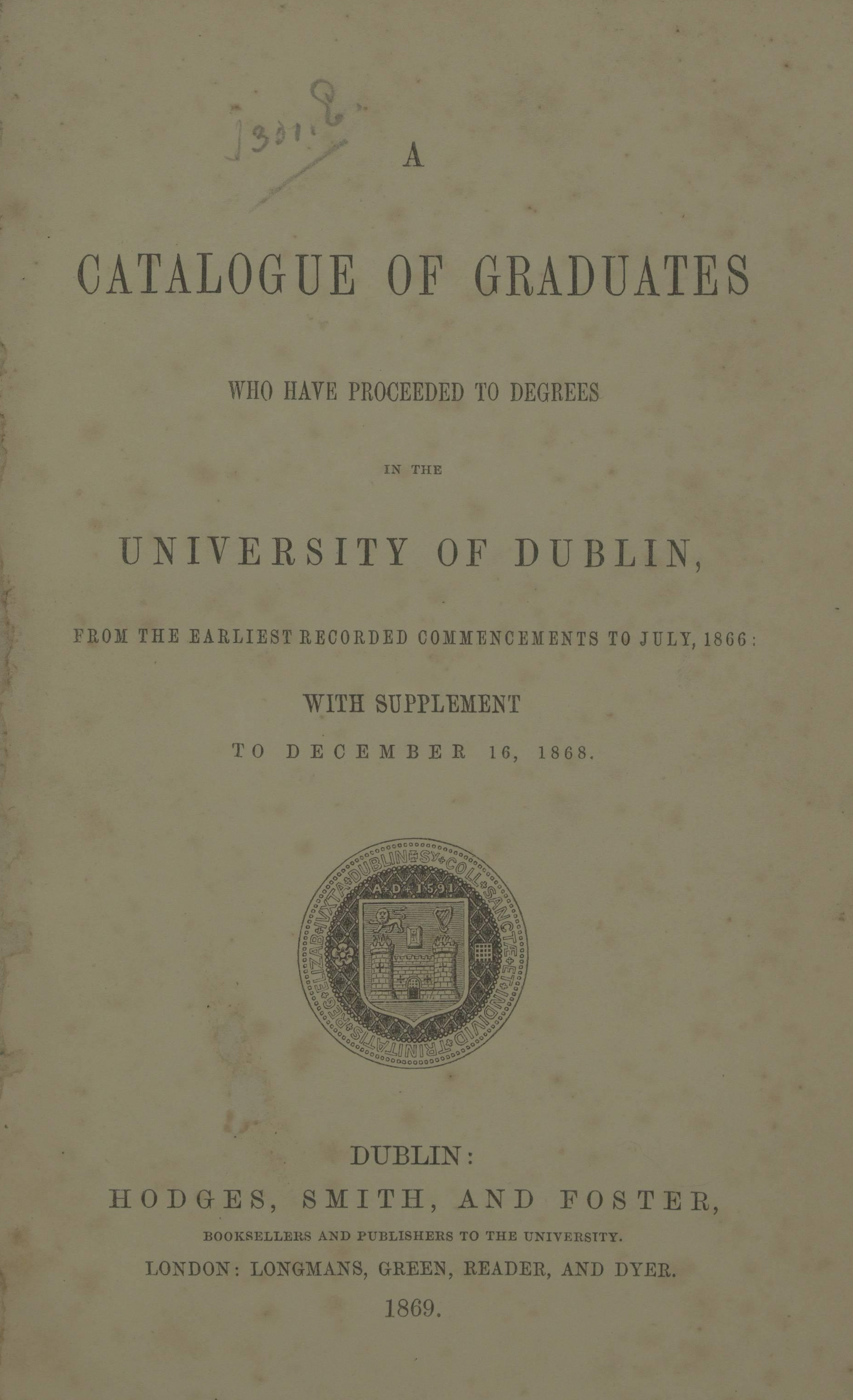 Library - A Catalogue of Graduates Who Have Proceeded to Degree in