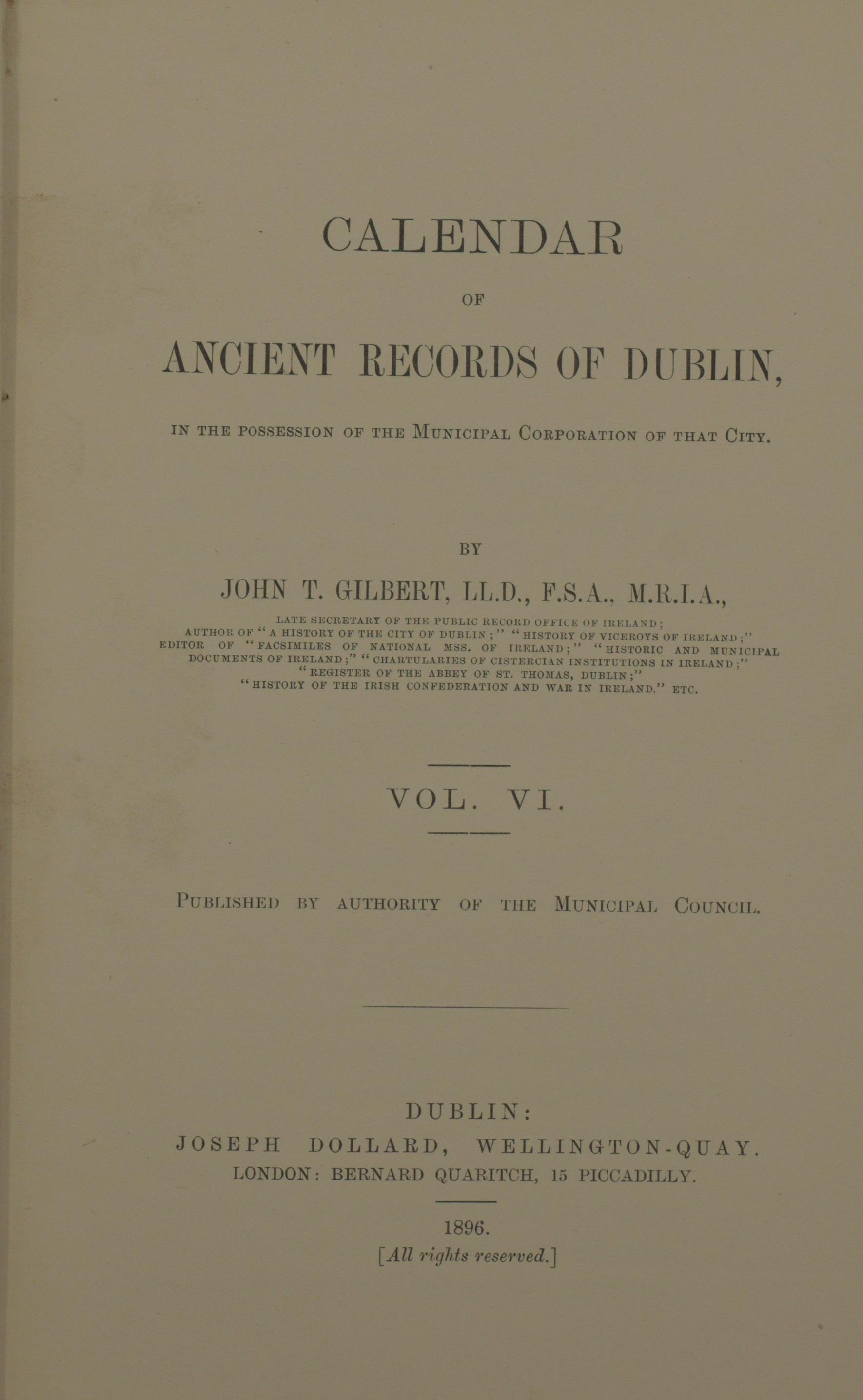 photo of Calendar of Ancient Records of Dublin Vol VI. 1896