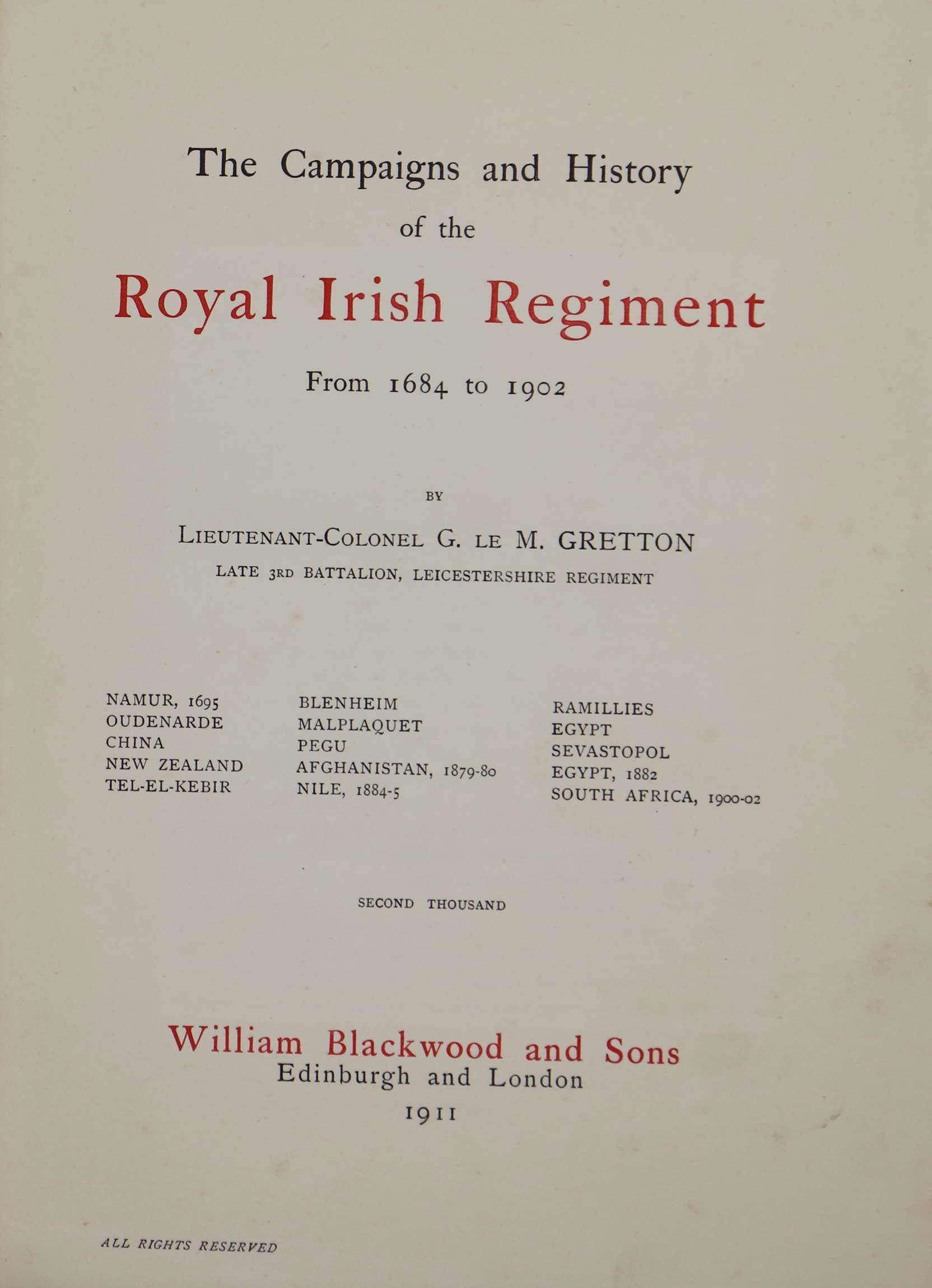 photo of The Campaigns and History of the Royal Irish Regiment from 1684 to 1902. 1911