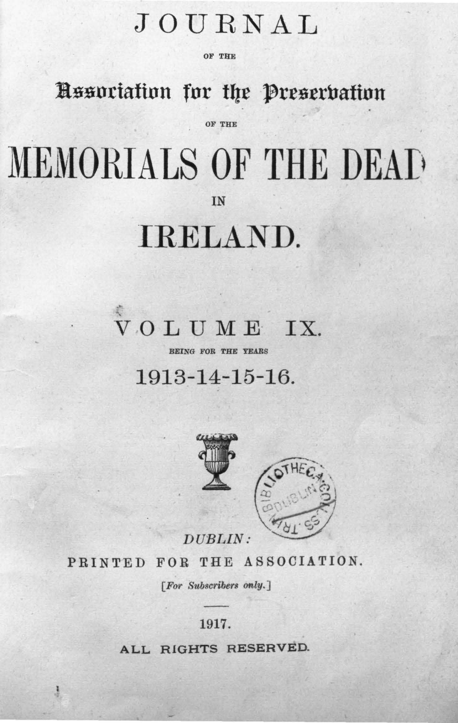 photo of Journal of the Association for the Preservation of the Memorials of the Dead Vol IX for the years 1913-1916. 1917