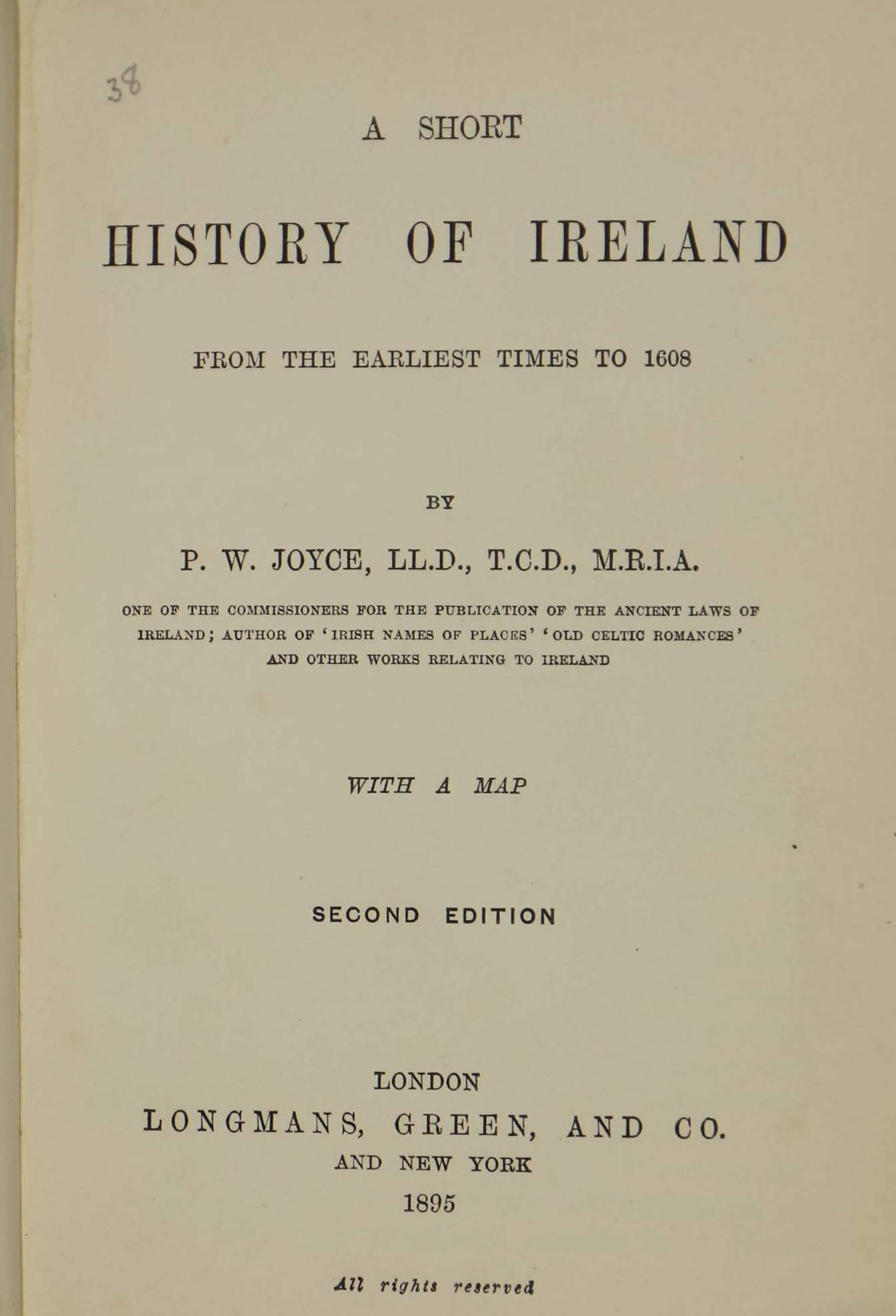 photo of A Short History of Ireland 2nd Edition. 1895