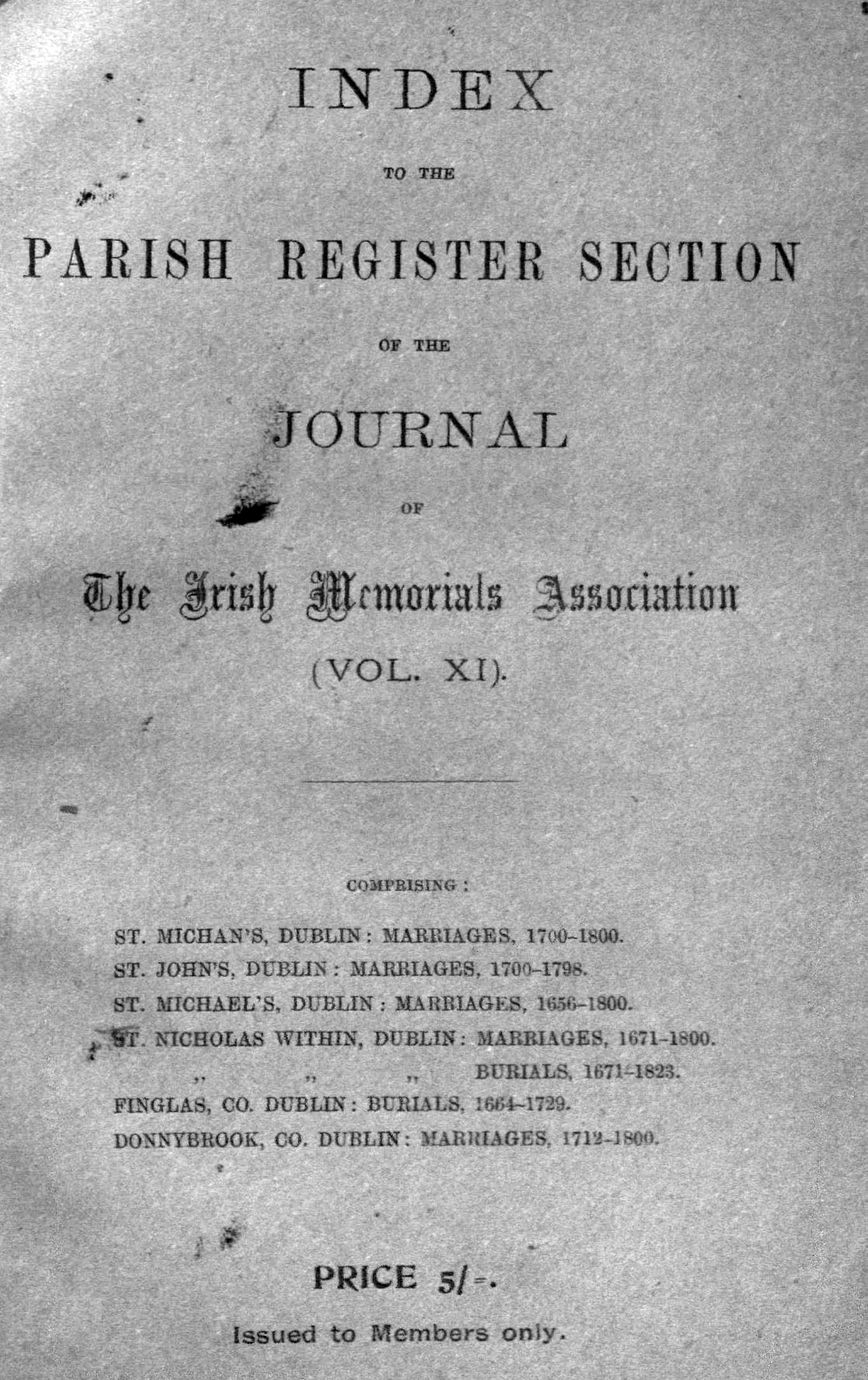 photo of Journal of the Association for the Preservation of the Memorials of the Dead. Volume XI, for the years 1921-1925. Index to the Parish Register Section. 1926