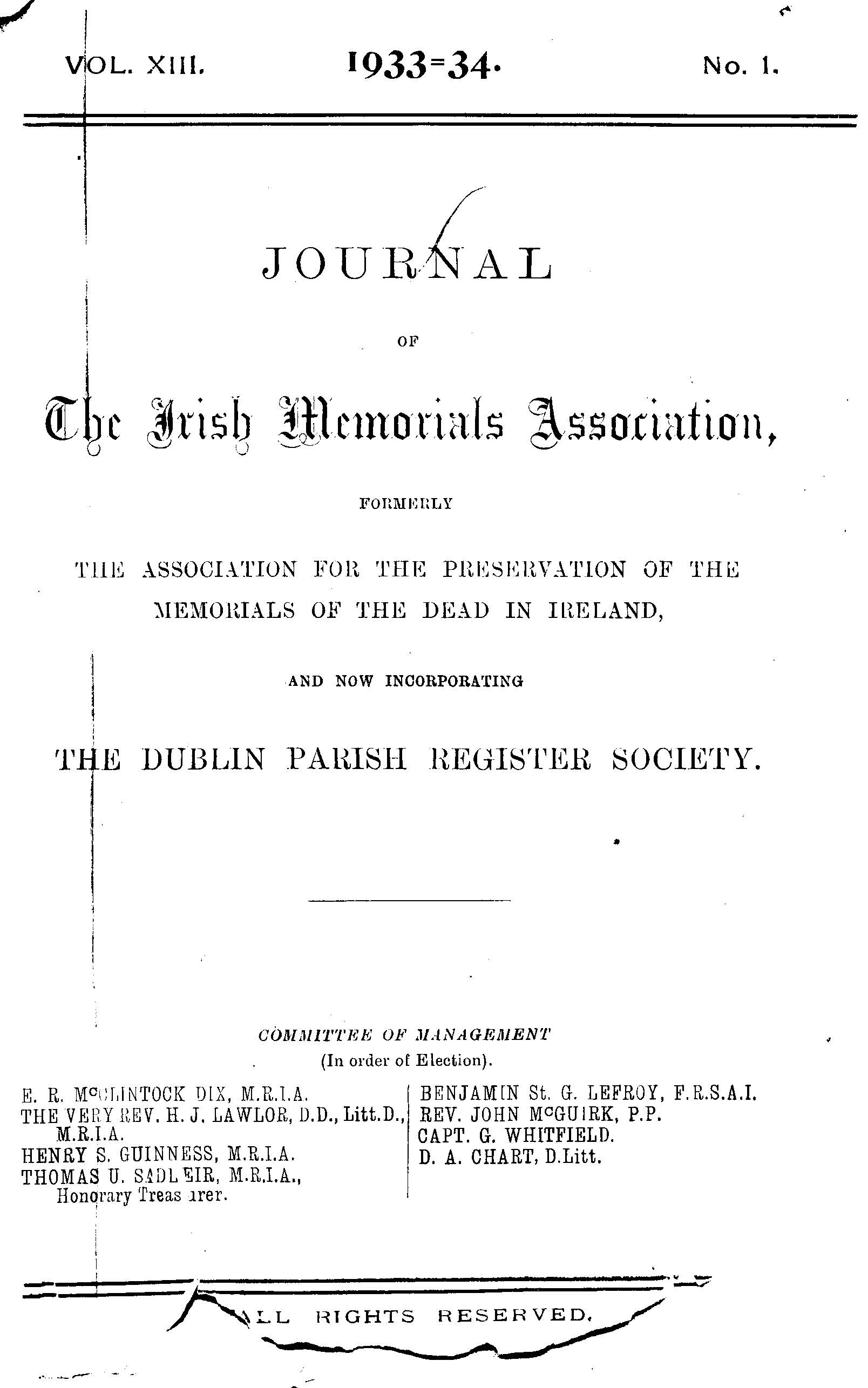 photo of Journal of the Association for the Preservation of the Memorials of the Dead. Volume XIII, for the years 1933-1934.