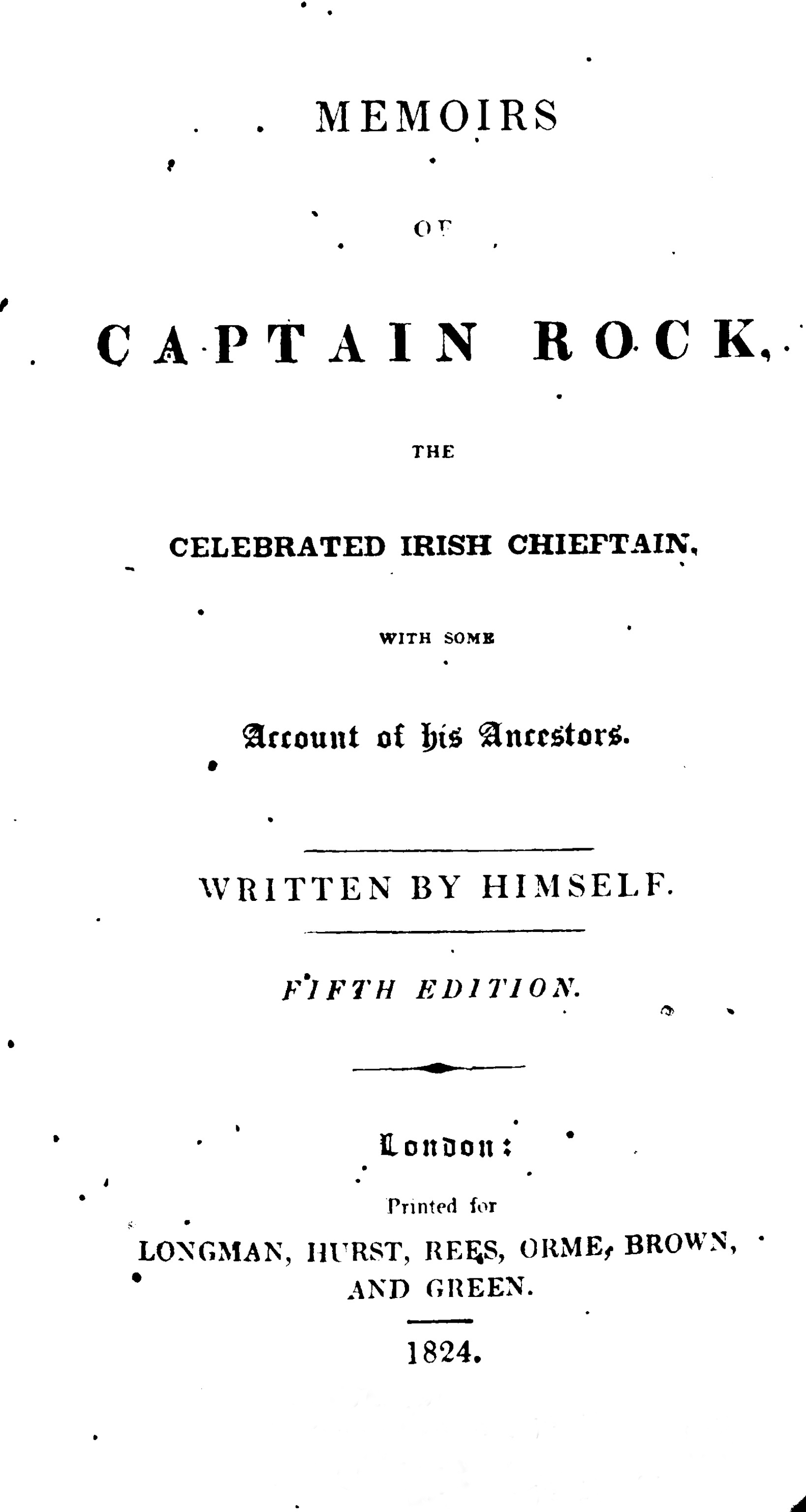 photo of Memoirs of Captain Rock, Fifth Edition, 1824