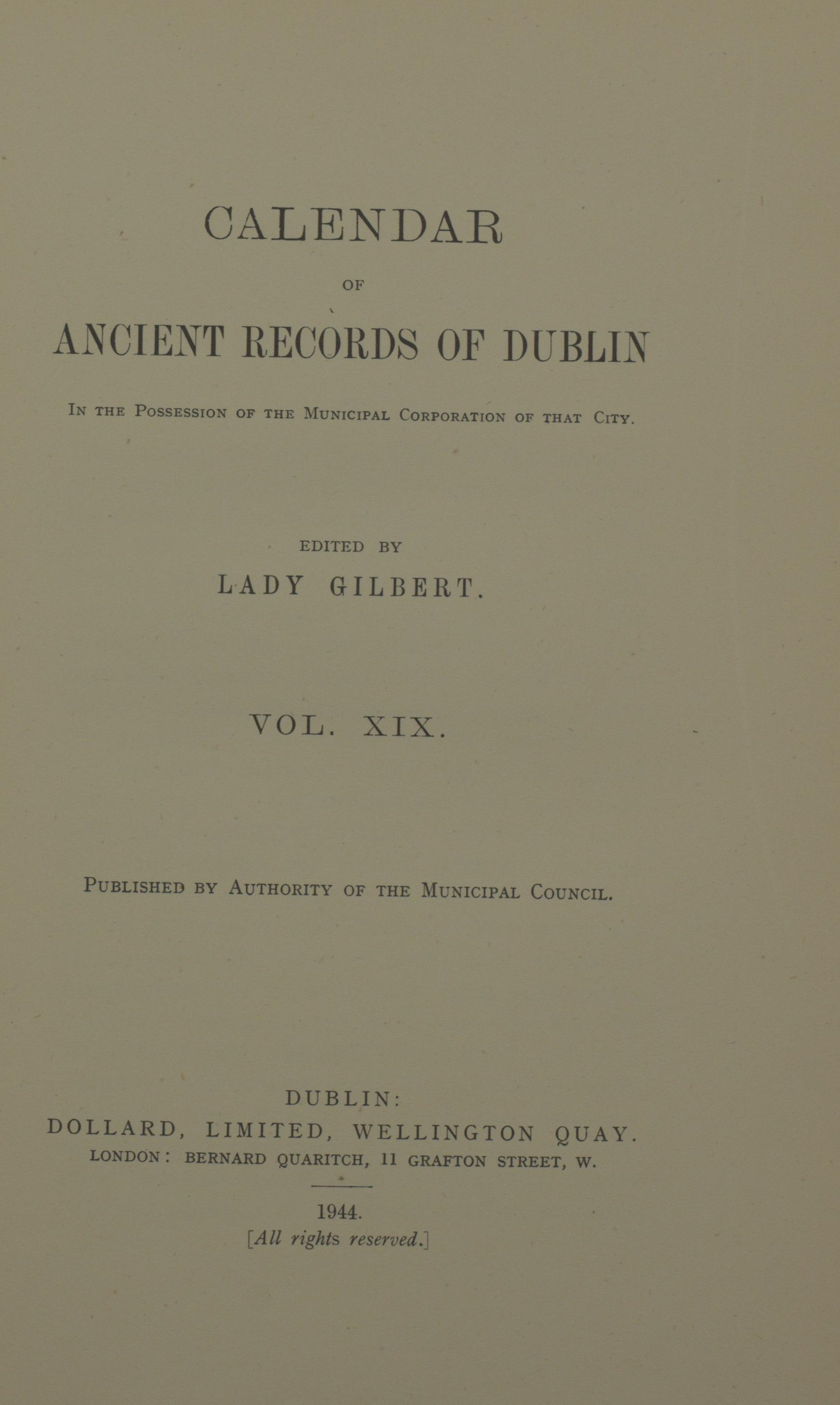 photo of Calendar of Ancient Records of Dublin Vol XIX. 1944