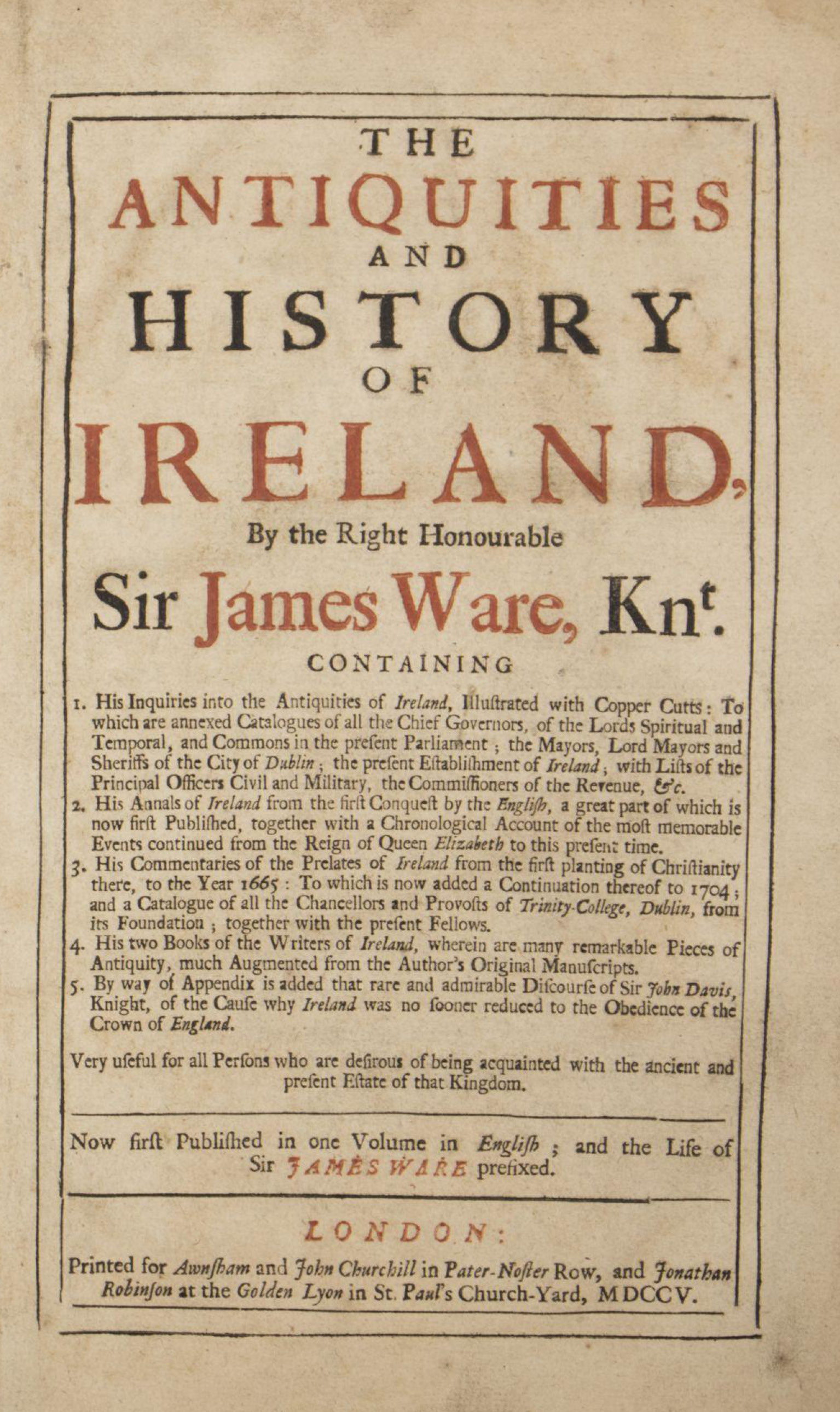photo of The Antiquities and History of Ireland, 1705