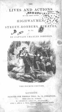 photo of Captain Charles Johnson, The Lives and Actions of the Most Noted Highwaymen, Street-Robbers, Pirates &c. &c. 1839
