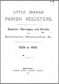 photo of Little Saxham Parish Registers 1559-1850, 1901