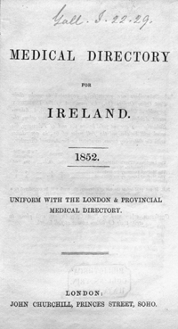 photo of Medical Directory for Ireland, 1852