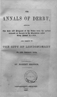 photo of Robert Simpson, The Annals of Derry, 1847