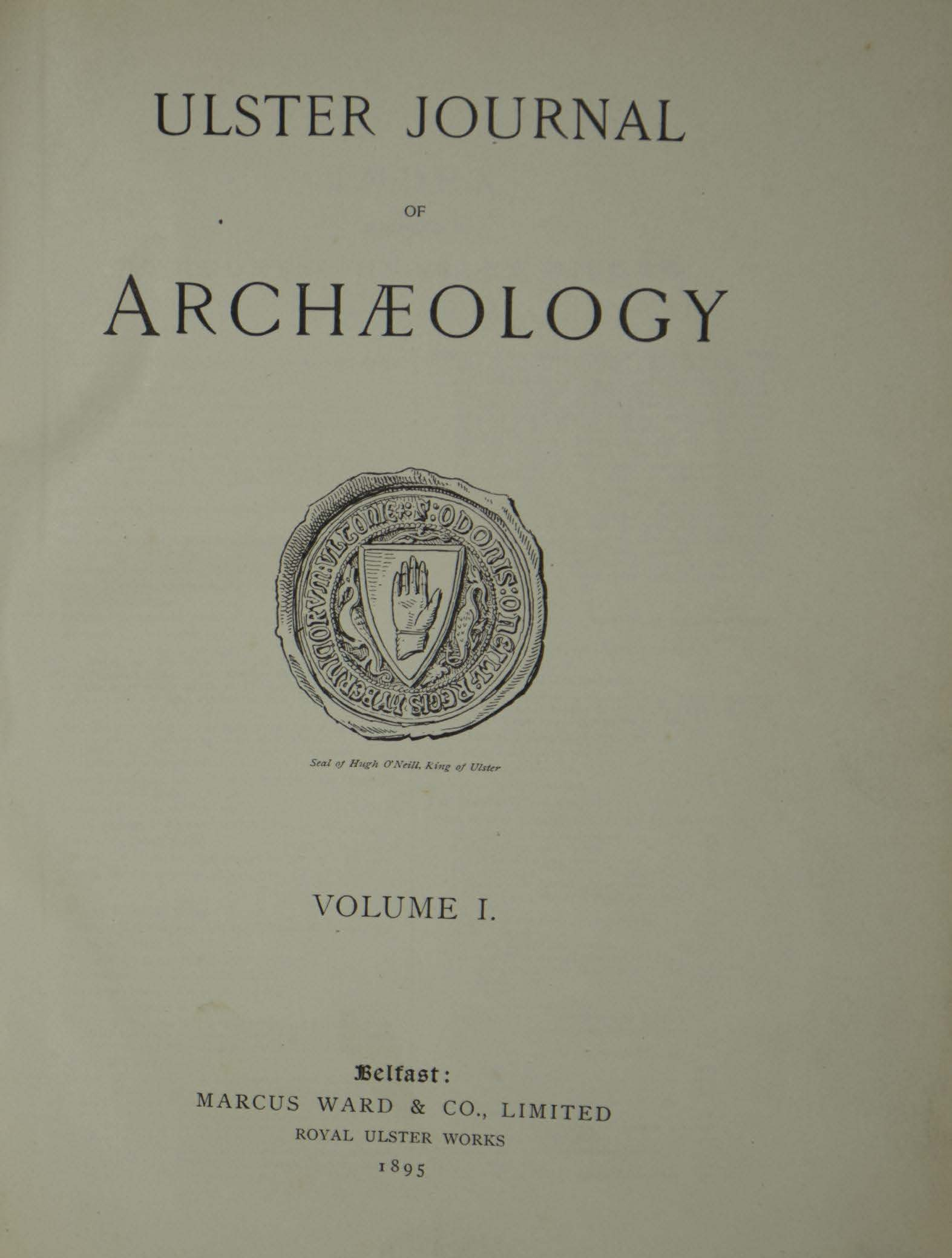 photo of Ulster Journal of Archaeology Volume I, 1894